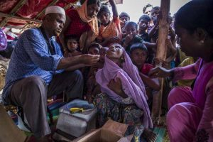 Unicef supplies vaccines for a massive cholera vaccination campaign targeting all Rohingya refugees arrived in Bangladesh, on the 10th of October 2017. In Shafullarkata refugee camp vaccinators working in small groups deliver the oral vaccine in outreach points within the camp.